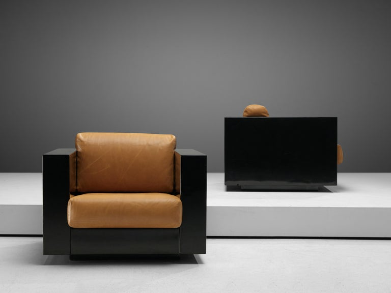 Italian Pair of Lounge Chairs by Lella & Massimo Vignelli For Sale