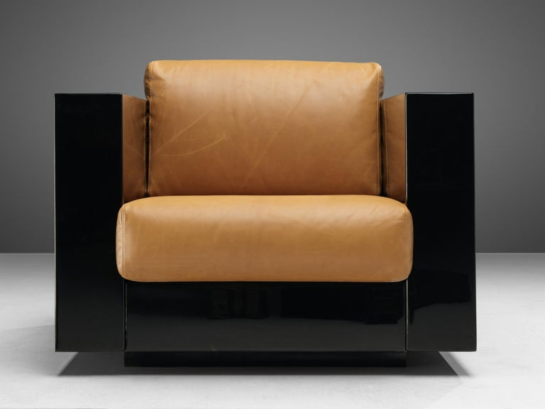 Wood Pair of Lounge Chairs by Lella & Massimo Vignelli For Sale