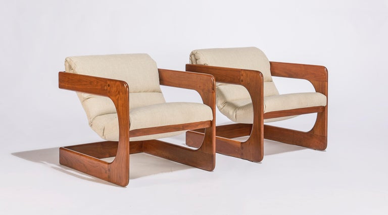 American Pair of Lounge Chairs by Lou Hodges For Sale
