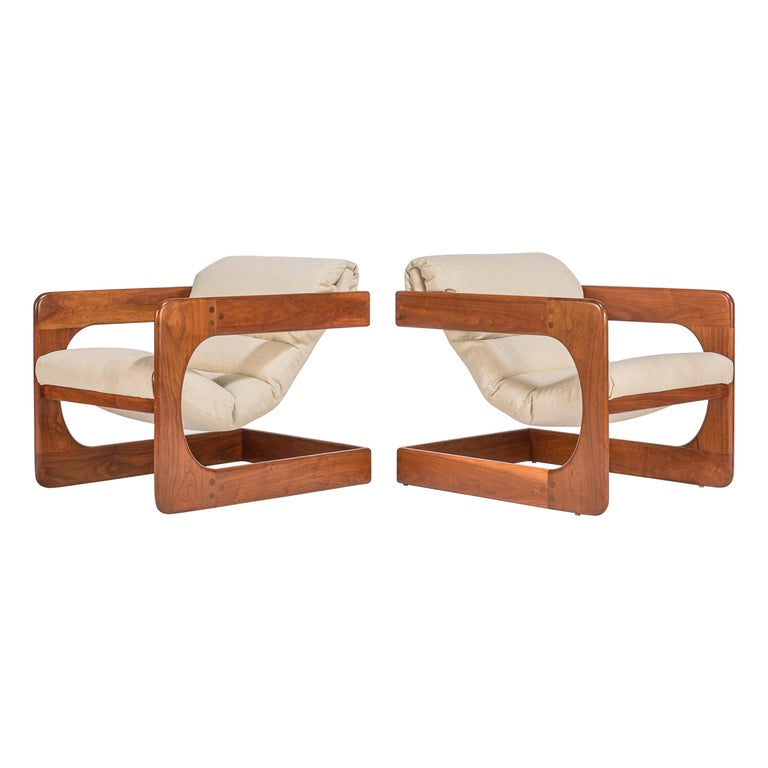 Pair of Lounge Chairs by Lou Hodges For Sale