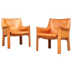 Pair of Lounge Chairs by Mario Bellini for Cassina Italy 1980s Leather