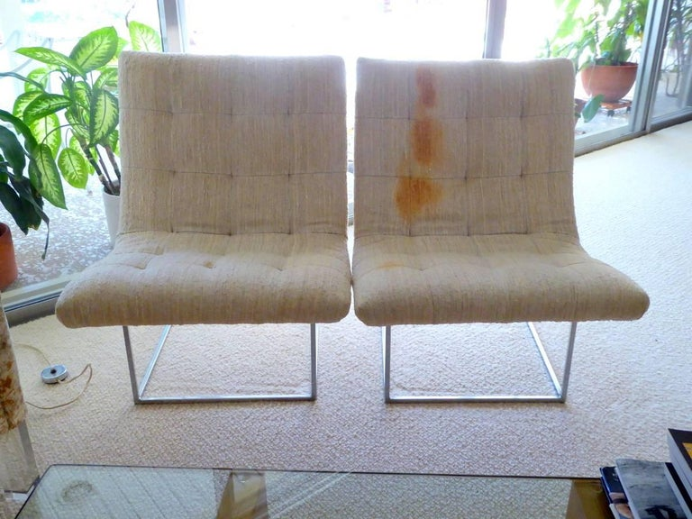 Plated Pair of Lounge Chairs by Milo Baughman for Thayer Coggin For Sale