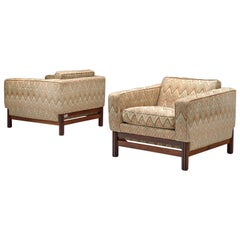 Pair of Lounge Chairs by Saporiti in Fabric and Rosewood
