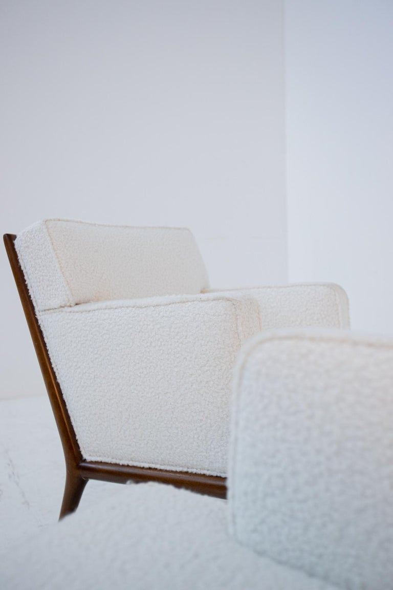 American Pair of Lounge Chairs by T.H. Robsjohn-Gibbings in White Bouclè, 1950s For Sale