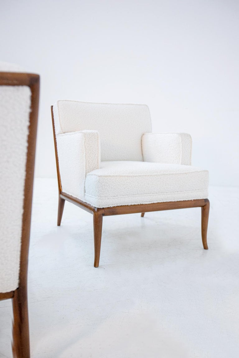 Bouclé Pair of Lounge Chairs by T.H. Robsjohn-Gibbings in White Bouclè, 1950s For Sale