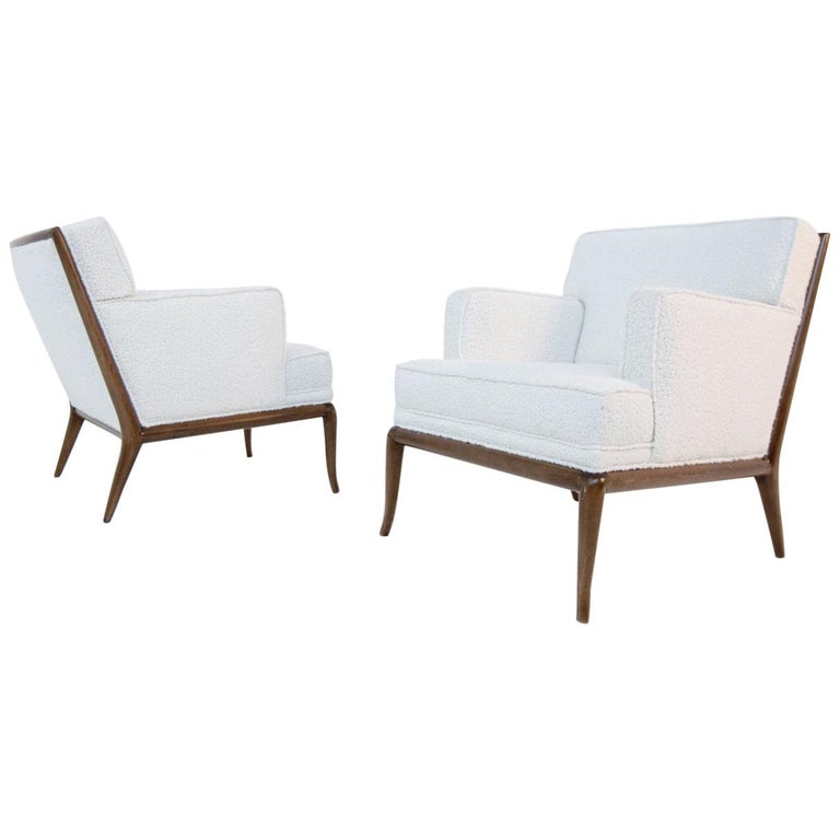 Pair of Lounge Chairs by T.H. Robsjohn-Gibbings in White Bouclè, 1950s For Sale