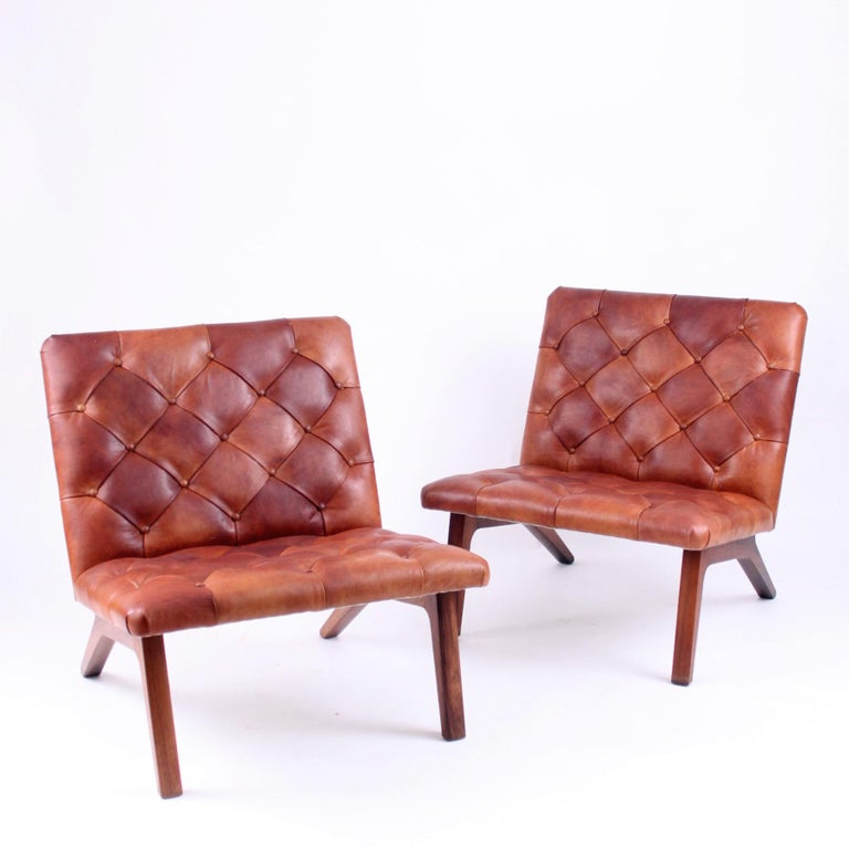 Mid-Century Modern Pair of Lounge Chairs, Helge Vestergaard Jensen, Rosewood and Niger Leather 1966 For Sale