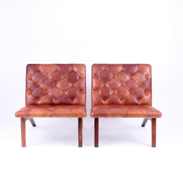 European Pair of Lounge Chairs, Helge Vestergaard Jensen, Rosewood and Niger Leather 1966 For Sale
