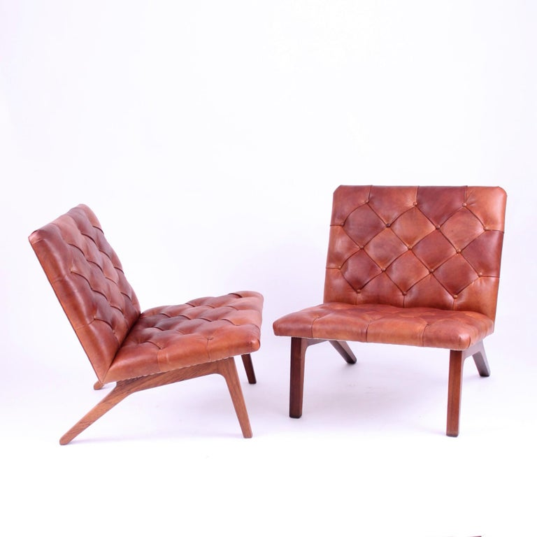 Oiled Pair of Lounge Chairs, Helge Vestergaard Jensen, Rosewood and Niger Leather 1966 For Sale