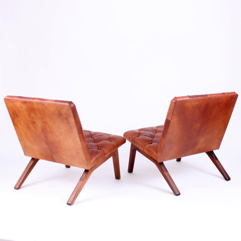 Pair of Lounge Chairs, Helge Vestergaard Jensen, Rosewood and Niger Leather 1966 In Good Condition For Sale In Copenhagen, DK