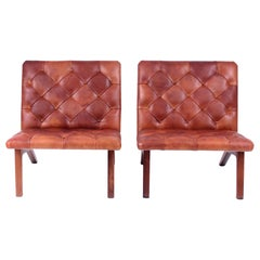 Pair of Lounge Chairs, Helge Vestergaard Jensen, Rosewood and Niger Leather 1966