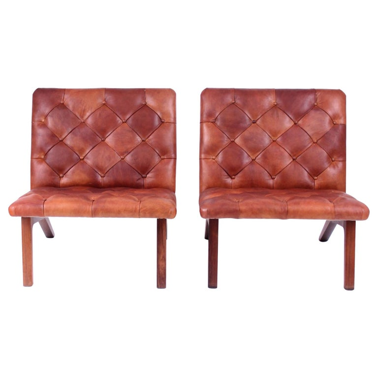 Pair of Lounge Chairs, Helge Vestergaard Jensen, Rosewood and Niger Leather 1966 For Sale