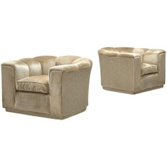 Pair of Lounge Chairs in Beige Velour