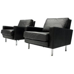 Pair of George Nelson 'Loose Cushion' Lounge Chairs in Black Leather