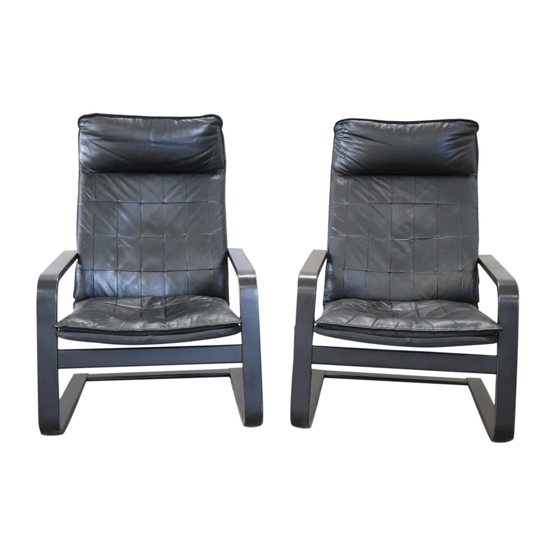 Pair of Lounge Chairs in Black Leather, 1970s