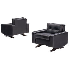 Pair of Lounge Chairs in Black Leather by Franz Sartori for Flexform