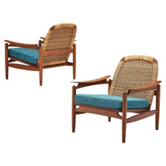 Pair of Lounge Chairs in Cane and Teak