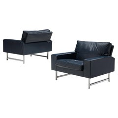 Pair of Lounge Chairs in Deep Blue Leather