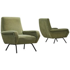 Pair of Lounge Chairs in Green Velvet
