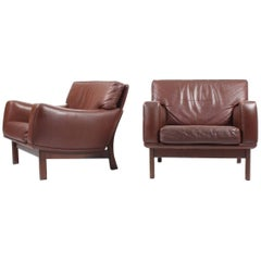 Pair of Lounge Chairs in Leather