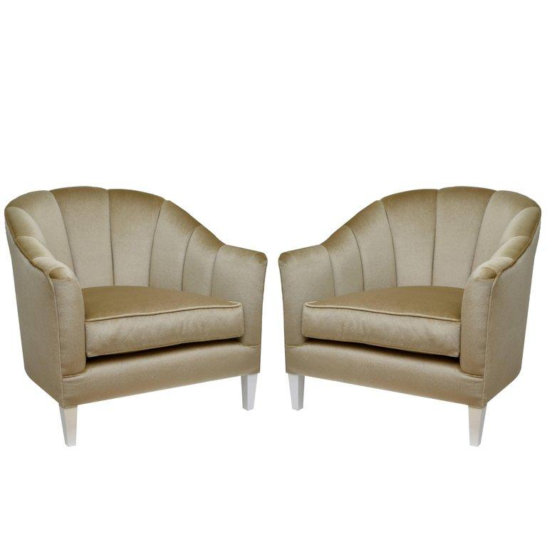 American Pair of Contemporary Lounge Chairs in Mohair For Sale