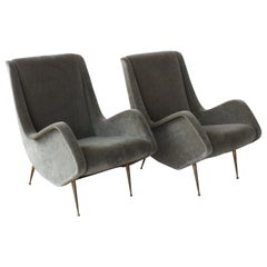 Pair of Lounge Chairs in Mohair, Italy, 1950s
