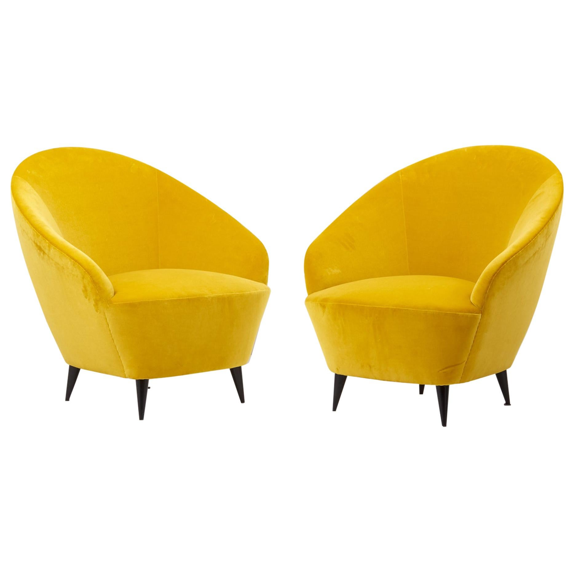 Pair of Lounge Chairs in New Cotton Velvet, Italy, 1950s