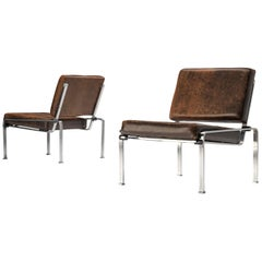 Pair of Lounge Chairs in Patinated Brown Leather and Chromed Frame