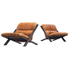 Pair of Lounge Chairs in Patinated Cognac Leather by Ueli Berger for De Sede