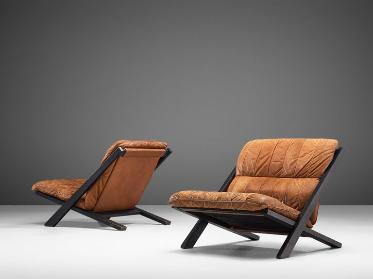 Mid-Century Modern Pair of Lounge Chairs in Patinated Cognac Leather for De Sede For Sale