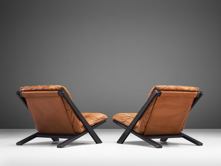 Swiss Pair of Lounge Chairs in Patinated Cognac Leather for De Sede For Sale