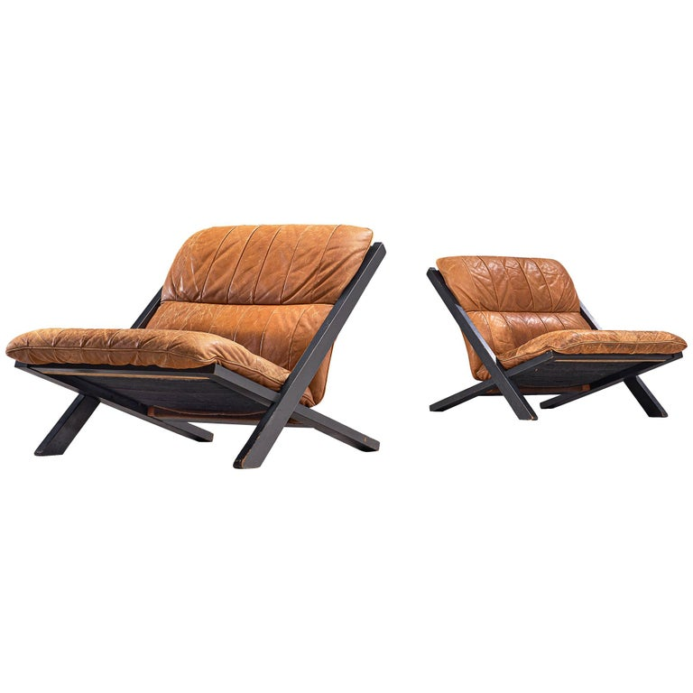 Pair of Lounge Chairs in Patinated Cognac Leather for De Sede For Sale
