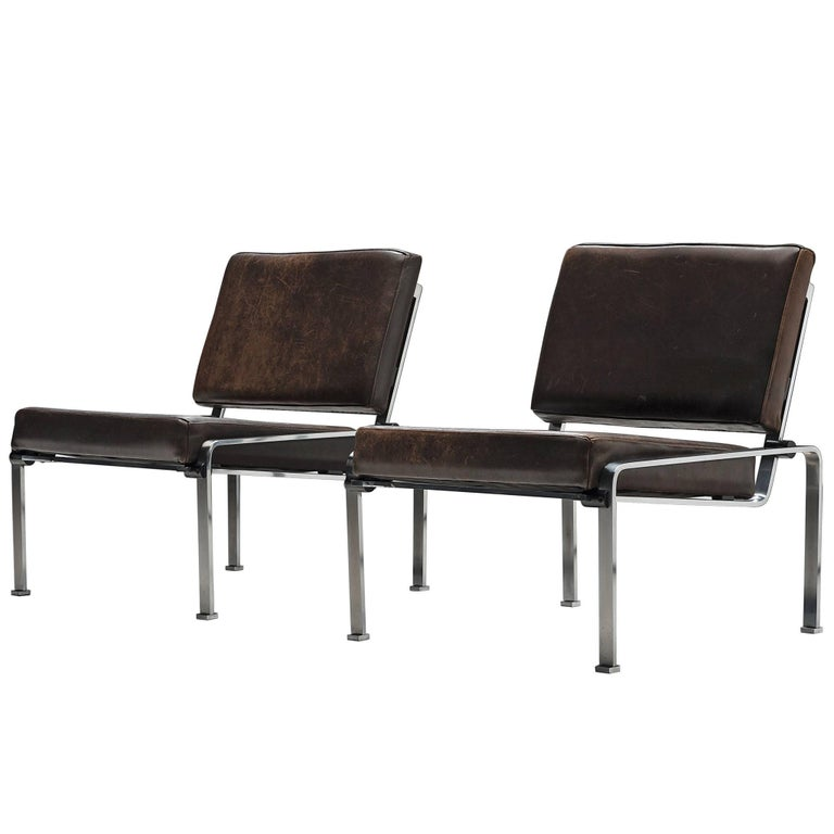 Pair of Lounge Chairs in Patinated Leather and Steel Frame