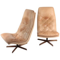 Pair of Lounge Chairs in Patinated Leather by Berg, 1960s