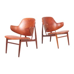 Pair of Lounge Chairs in Patinated Leather by Ib Kofod Larsen, 1950s
