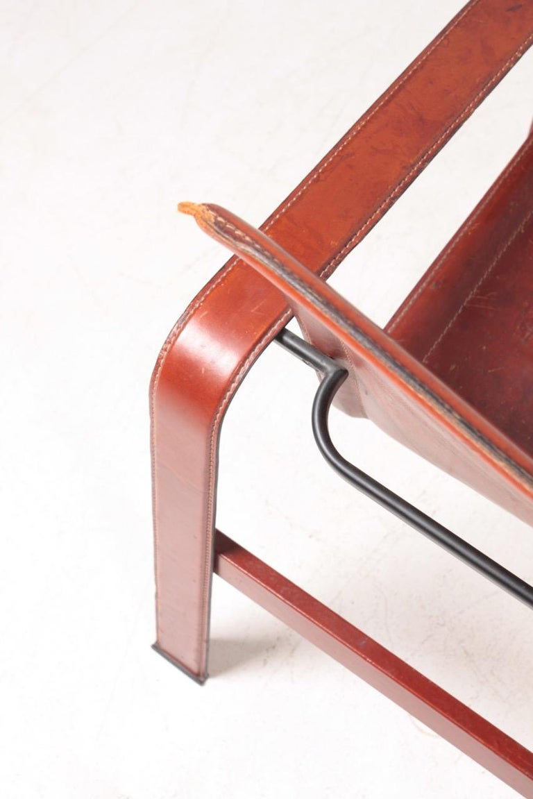 Late 20th Century Pair of Lounge Chairs in Patinated Leather by Matteo Grassi, 1970s For Sale
