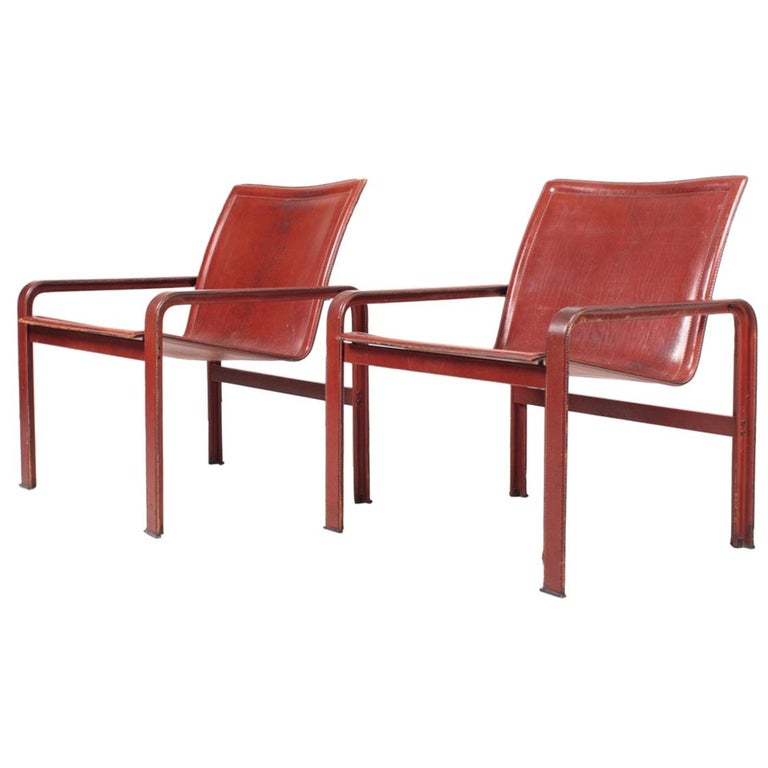 Pair of Lounge Chairs in Patinated Leather by Matteo Grassi, 1970s For Sale