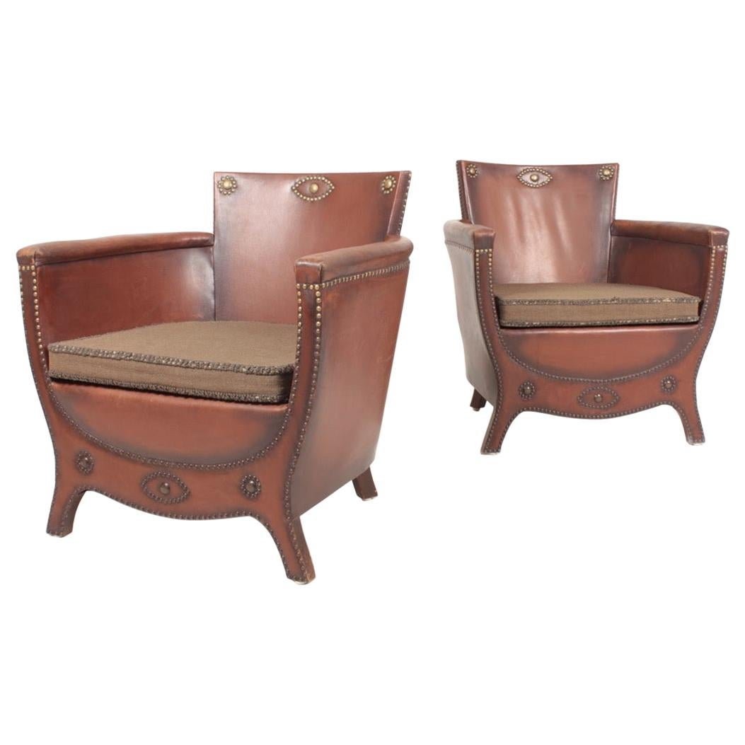 Pair of Lounge Chairs in Patinated Leather Designed by Otto Schulz