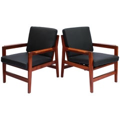 Pair of Lounge Chairs in Polished Wood of Danish Design, 1960s