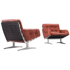 Pair of Lounge Chairs in Red Leather by Paul Leidersdorff