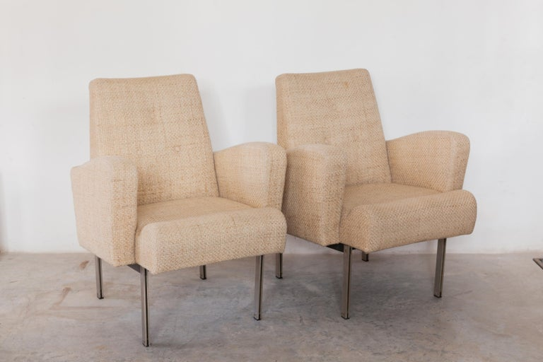 A beautiful set of vintage steel chromed of comfortable lounge chairs in style designed by Milo Baughman in 1960s. These classic and elegant chairs feature an architectural chrome frame with preformed foam equipped seating for your legs provides