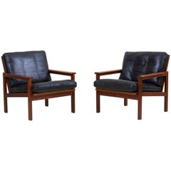 Pair of Lounge Chairs in Teak and Leather by Danish Architect Illum Wikkelsø