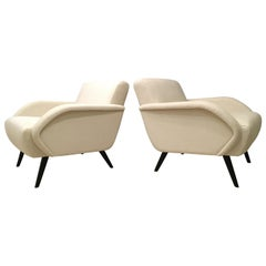 Pair of Lounge Chairs in the Style of Gio Ponti, 1950s, Excellent Condition