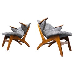 """Pair of Lounge Chairs """" Model 33"""" by Carl Edward Matthes, Danemark, 1950s"""