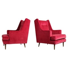 Pair of Lounge Chairs on Brass Legs by Edward Wormley for Dunbar