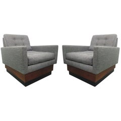 Pair of Lounge Chairs on Plinth Base