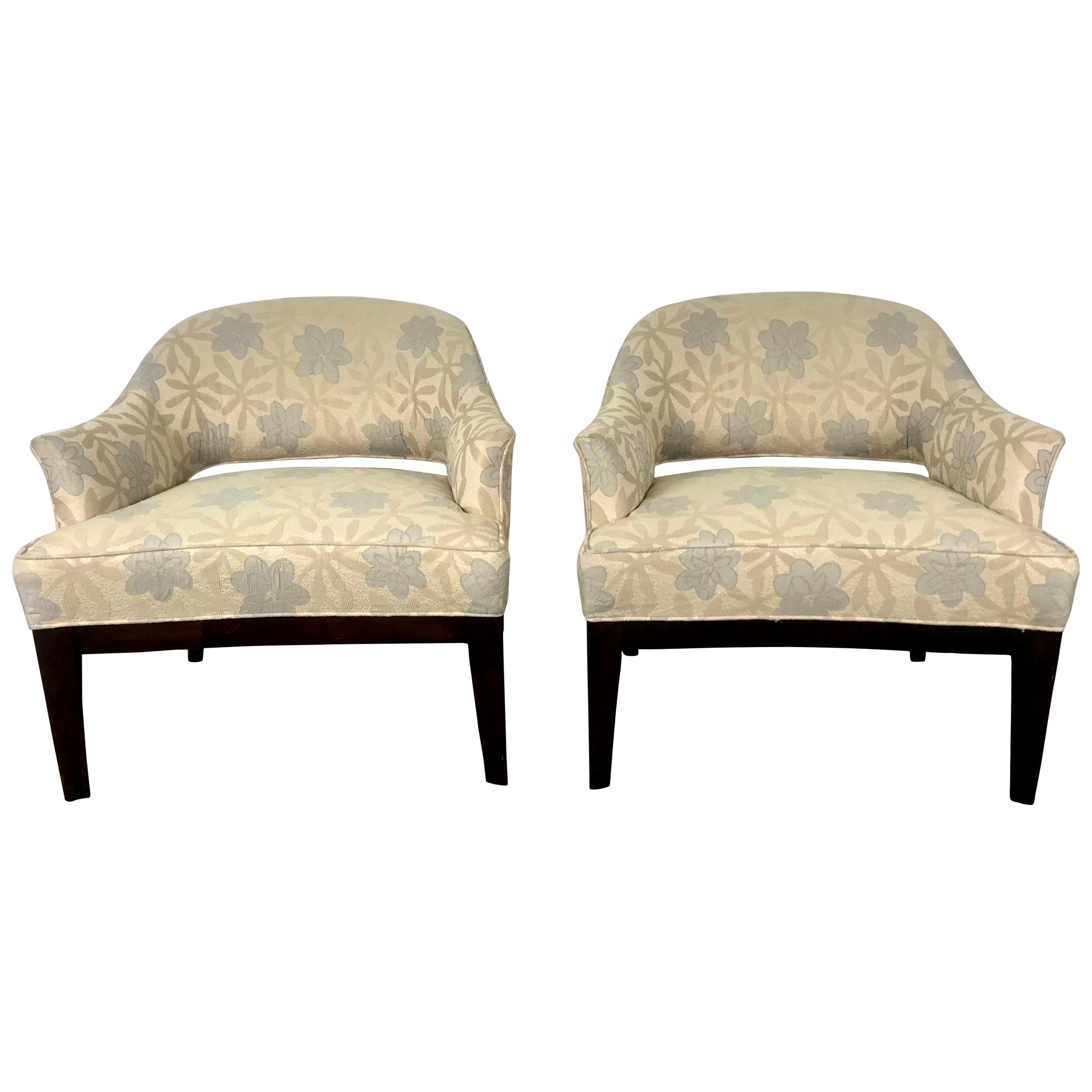 Pair of Lounge Chairs, Original Modernist Fabric