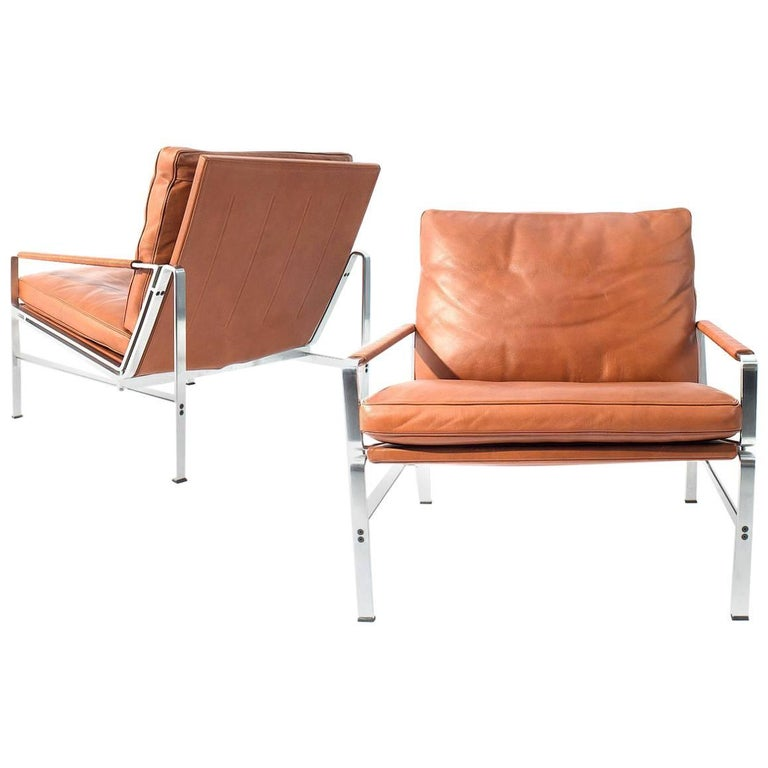 Pair of Lounge Chairs Preben Fabricius and Jorgen Kastholm For Sale