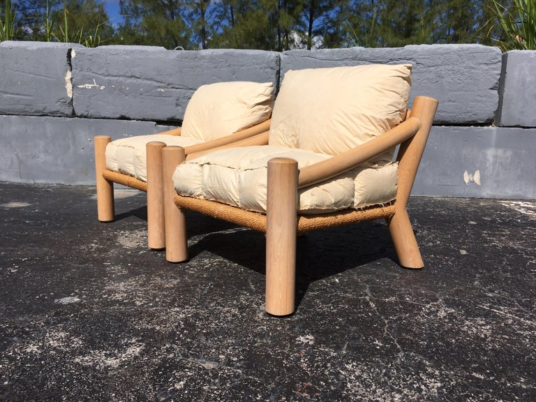 Pair of Lounge Chairs, Solid Wood with Rope, Down Filled Cushions For Sale 4