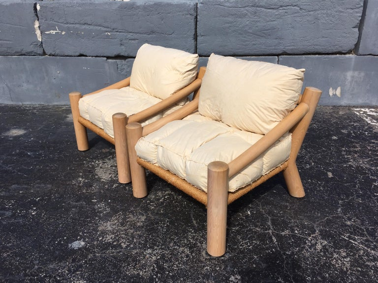 Pair of Lounge Chairs, Solid Wood with Rope, Down Filled Cushions For Sale 6